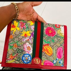 GUCCI OPHIDIA GG FLORAL CLUTCH/POUCH NEW BAG